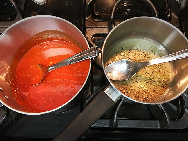 spicy garlic buffalo wing sauce and lemon pepper garlic parmesan sauce